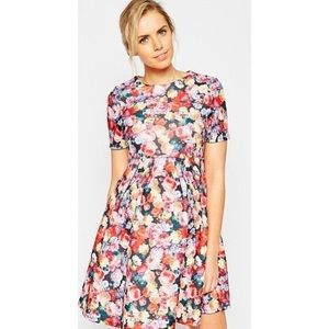 ASOS Pink Floral Flare Scuba Short Sleeve Dress